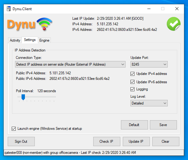 Dynu IP Update Client Connection Type