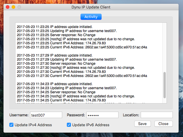 Dynu IP Update Client for Mac