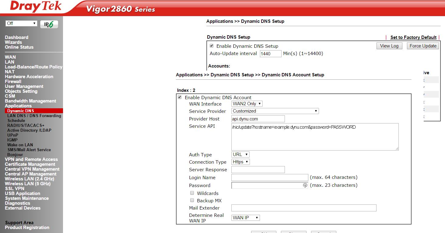 DrayTek Vigor 2860 Series | Free Dynamic DNS Service | Dynu