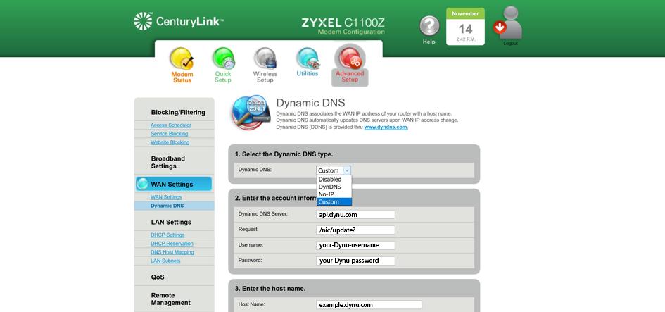 Zyxel C1100Z | Dynamic DNS Service | Dynu Systems, Inc