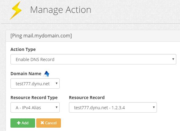 Failover Action DNS Records