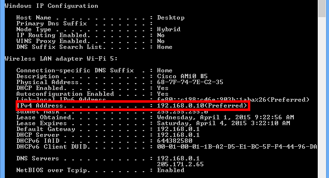 Internal IP Address