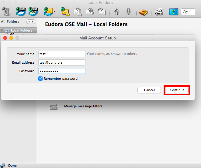 Eudora Mail Client for Mac Configuration