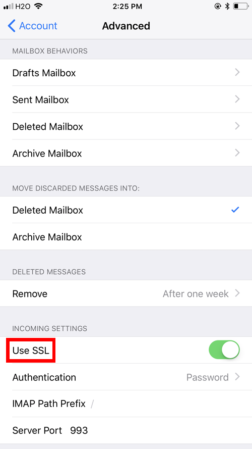 iPhone Mail Client Configuration