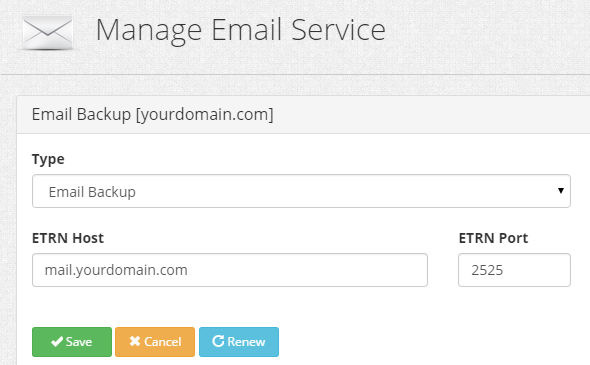 Email Backup ETRN Host